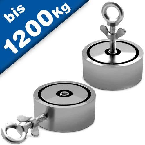 Angeln Suchmagnet Bergemagnet Neodym-Magnet (NdFeB) - Durchmesser: 48-136mm - Zugkraft: ab 200 Kg (2x100Kg) bis 1200Kg (2x 600Kg) - Perfekt zum Magnetfischen Magnetangeln, Größe: Ø 48-100kg x 2
