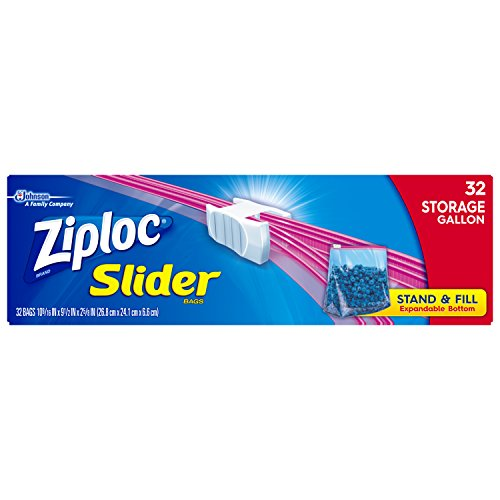 Read About Ziploc Slider Stand-and-Fill Storage Bags, for Food, Sandwich, Organization and More, Gal...
