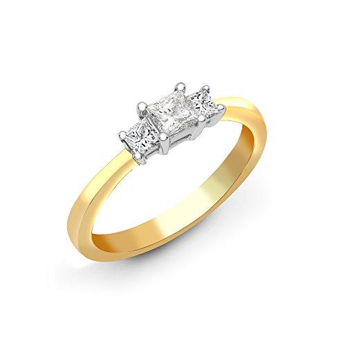 Jewelco London in oro giallo 18kt, con 4gancetti da taglio princess Hi si 52PTS diamante Trilogy anello di fidanzamento