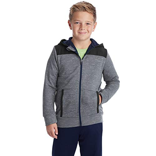 C9 Champion Boys' Tech Terry Woven Pieced Full Zlip Jacket, Xavier Navy, Medium