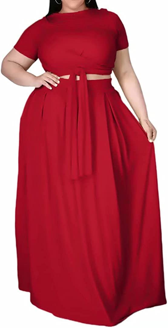 Womens Plus Size 2 Piece Dress Outfits Short Sleeve Bandage Wrap Empire Crop Tops and Skirt Sets