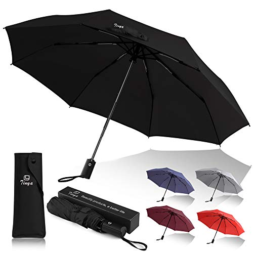 Tinya Windproof Auto Travel Umbrella: Men Women 8 & 10 Sturdy Big Strong Ribs Durable Compact Portable Small Lightweight Folding Best Mini Collapsible Automatic Open Close Pack Rain Paraguas