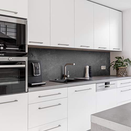Dedeco Küchenrückwand Motiv: Beton V2, 5mm Hartschaum Kunststoffplatte PVC als Spritzschutz Küchenwand Wandschutz wasserfest, inkl. UV-Lack glänzend, alle Untergründe, 280 x 60 cm