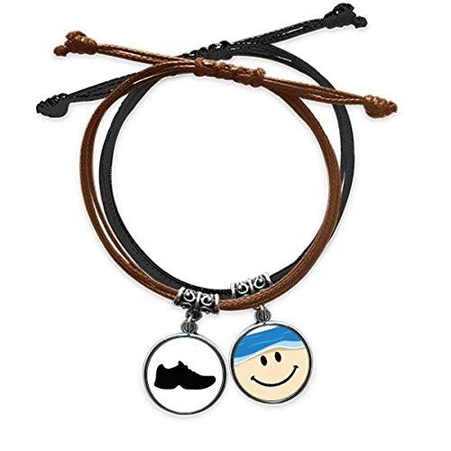 Bestchong Herren-Armband mit schwarzem Sportschuh und Umriss-Muster, Lederarmband, lächelndes Gesicht