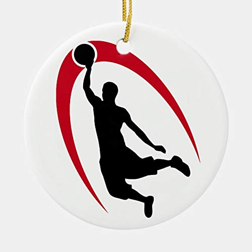 Black Red Basketball Ornament Personalized 3 Ihch Ceramic Ornament Christmas Tree Decration