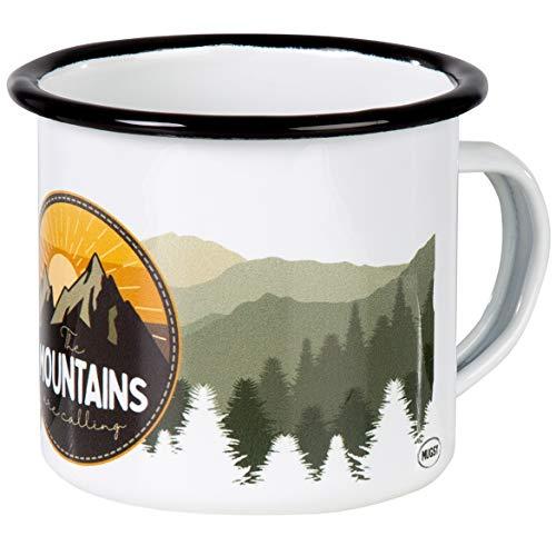 Mountains Are Calling | Hochwertige Emaille Tasse mit farbigem Outdoor Design | leicht und bruchsicher, für Camping und Trekking | von MUGSY.de