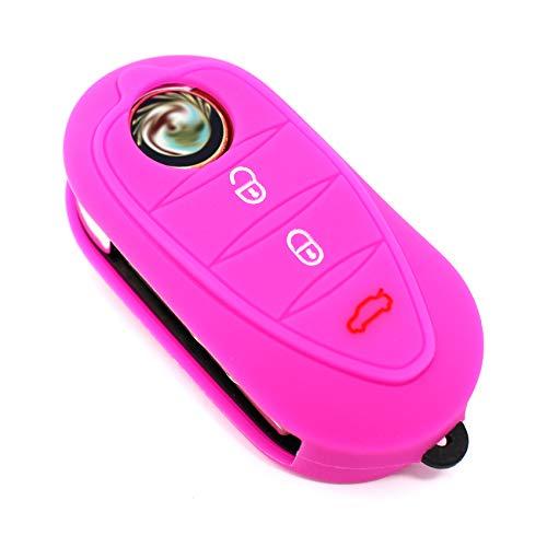 Finest-Folia - Cover ALA in silicone per chiavi auto a 3 tasti rosa fluo