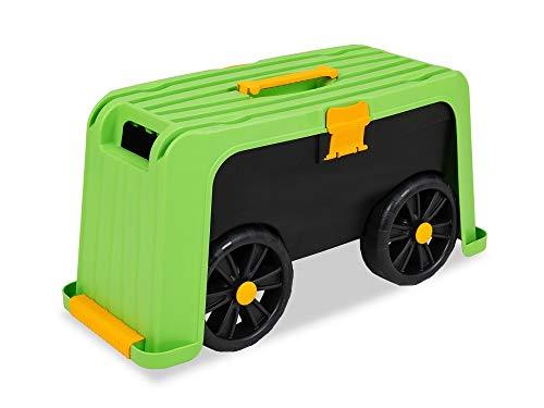 Garden Point Sgabello con Poggia Ginocchia per Giardinaggio con Contenitore 3 in 1 | Sgabello Mobile con Contenitore con Portata Massima 100 kg | Rende più Facile Il Lavoro in Giardino o in Officina