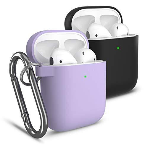 Cuauco 2 Pack Hülle Silikon AirPods Case Kompatibel mit Apple AirPods 1&2(Front-LED Sichtbar) mit Karabiner,mit 30-teiliges Reinigungskit(Beinhaltet Weiche Bürste,Tupfer)(Schwarz+Lavendel)