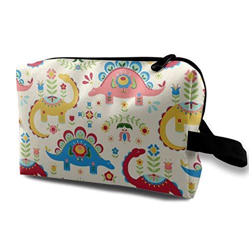 Bolsa de cosméticos de viaje, diseño de dinosaurios de arte popular, fondo crema, impermeable, bolsa de almacenamiento organizadora con cremallera de 4.8 pulgadas x 6.5 pulgadas x 10 pulgadas