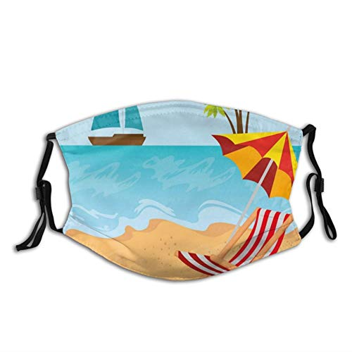 Comfortable Windproof mask,Summer Leisure Scene At Coast Ocean Sailboat Parasol And Chair Cartoon Style,Printed Facial decorations for adult