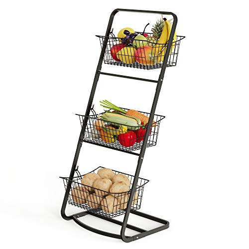 Wire Market Basket Stand Cambond 3 Tier Fruit Baskets with Removable Wire Baskets for Fruit Vegetables Toiletries Household Items Floor Standing Metal Storage Baskets for Kitchen Bathroom Pantry