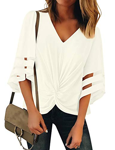 Women Casual V Neck Twist Knot Mesh Panel Blouse Shirt $7.80 (70% Off with code)