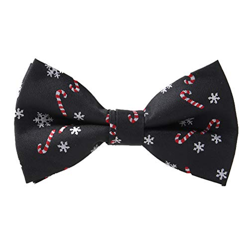 Alizeal Toddler Black Background with Candies/Snowflake Pattern Pre-tied Christmas Party Bow Tie, 011-S