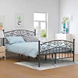 Yollen Metal Beds Victorian Style Platform Bed Frame with Headboard Footboard Heavy Duty Slat No Box Spring Queen Size White