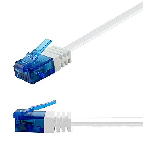 Ligawo 1014306.0 Patchkabel RJ45 Netzwerk Cat6a Flachkabel 10-Gigabit (10m) weiß