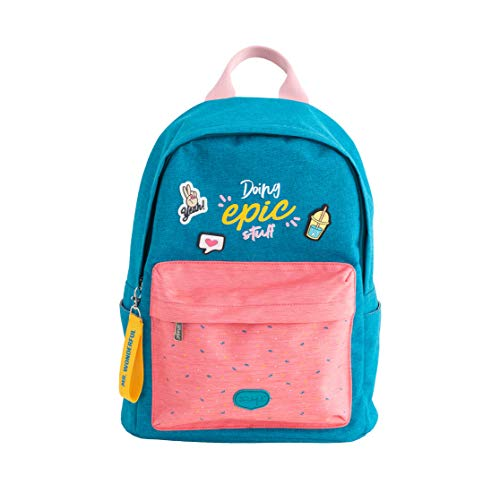 Mr. Wonderful Mochila Azul/Rosa, Backpack - Doing epic stuff Unisex Adulto, Multicolor, Talla única