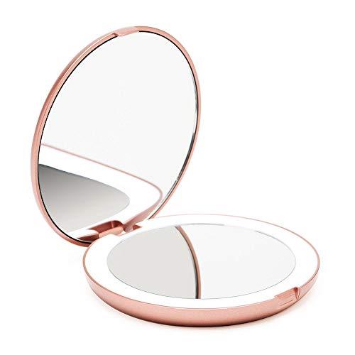Fancii Taschenspiegel Zweiseitiger Schminkspiegel mit LED Licht, 1X / 10X Vergrößerung - Kompakt, Tragbarer, Große 13cm Make-up-Spiegel Kosmetikspiegel Beleuchtet für Kosmetik Unterwegs (Rotgold)