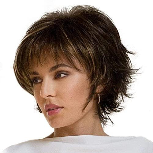 Pelucas de reemplazo de cabello Pelucas cortadas cortas con capas cortas con flequillos Pelucas cortas esponjosas para mujeres Pelucas frontales sin encaje Sintético Ombre de color marrón Pelucas
