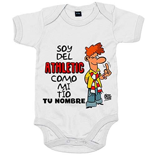 Body bebé soy del Athletic como mi tio personalizable con nombre ilustrado por Jorge Crespo Cano - Blanco, Talla única 12 meses
