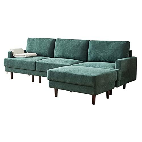 HAZYJT Sofá rinconera con función de Dormir, sofá Cama de 276cm Sofá composable de Lino, sofá en Forma de L con Cojines, sofá Mullido y Grueso, Fundas de sofá, sofá 1 2 3 4 plazas Emerald