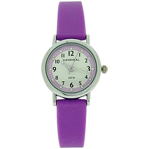 Cannibal Active Girls Diamante White Dial Purple Rubber Strap Watch CJ256-24