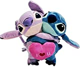 CUDILLERO 8 inch Lilo and Stitch Plush Toy Love Heart Stitch and Angel Hug Couple Cute Game Collectible Doll Xmas Gifts New