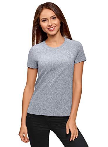 oodji Ultra Mujer Camiseta de Felpa con Decoración, Gris, ES 36 / XS