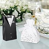 Omabeta Bolso de caramelo de la boda para la decoración de la caja del caramelo del traje para la boda (esmoquín)