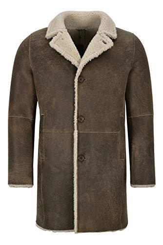 Smart Range Leather Cappotto in Pelle di Montone da Uomo, 3/4, Caldo, in Vera Pelle Trench Reefer Bane Coat 2K320 (S for Chest 40', Dirty Brown)