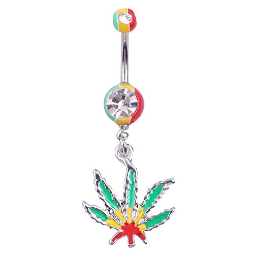 """Weed Maple Leaf Belly Button Navel Ring Body Piercing Pretty Green Jamaica 1.75"""""""