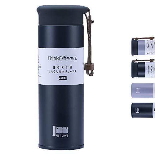 Deprik Edelstahl Thermobecher 450 ml, Isolierbecher, Thermosflasche 100% Dicht Auslaufsichere mit Tee Sieb, Doppelwandig & Vakuumisoliert, 360°-Trinköffnung Travel Mug, BPA Frei (Blau)
