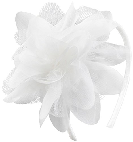 BluNight Collection Mesh Large Flower Narrow Headband Hair Accessories Little Flower Girl (HBKD012) White