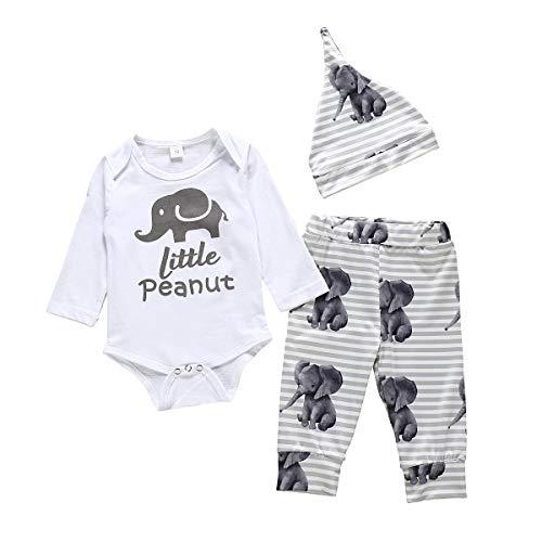 Newborn Baby Boy Girl Little Peanut Outfit Elephants Onesie Romper Bodysuit+ Legging Pant Headband Summer Clothes Set (Elephant, 0-6 Months)