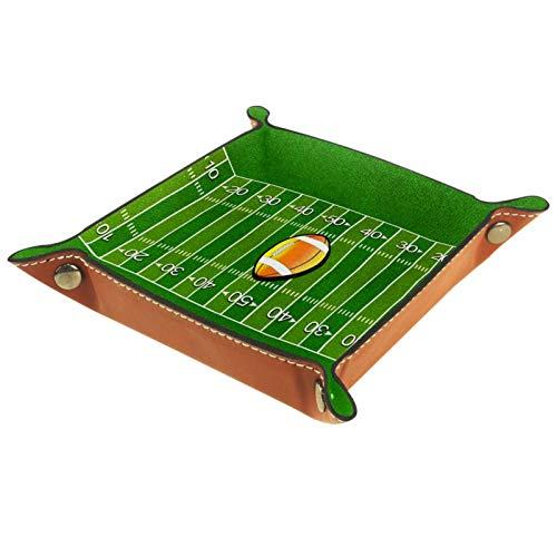XiangHeFu Ledertablett,Schmucktablett Dekoplatte,American Football Feld,Leder Tablett,Aufbewahrungstablett für Schmuck Schlüssel Armbanduhr Wohnzimmer Tisch Küche