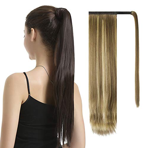 BARSDAR 26 inch Ponytail Extension Long Straight Wrap Around Clip in Synthetic Fiber Hair for Women-Ash Medium Brown & Bleach Blonde