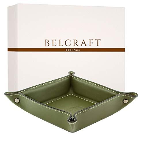 Belcraft Orvieto Vaciabolsillos de Piel Italiana, Hecho a Mano, Incluye Caja, Verde (19x19 cm)