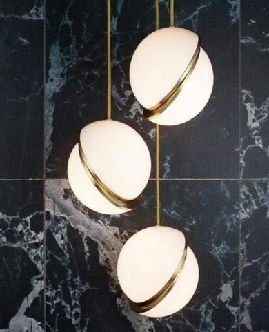 Bola de luces de suspensión redonda creativa Luna de latón lámpara de suspensión para comedor salón iluminación colgante (color: free)