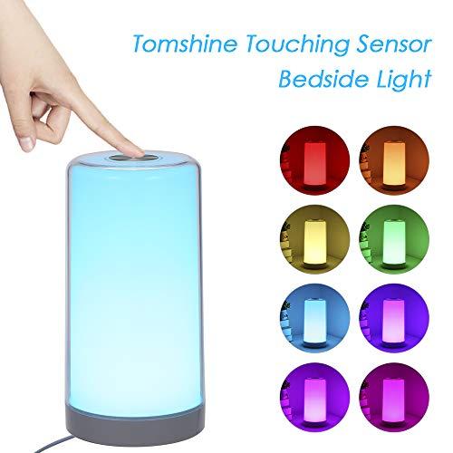 Nachttischlampe Touch Dimmbar, Tomshine LED Tischlampe Warmem Weißlicht Bunt 256 RGB, 3 Helligkeitsstufen, Memory und Augenschutz Funktion Nachtlicht [Energieklasse A++] [Energieklasse A++]