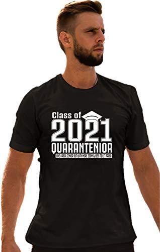 Go All Out Medium Black Adult Class of 2020 Quarantenior Funny Graduate Quarantine T-Shirt