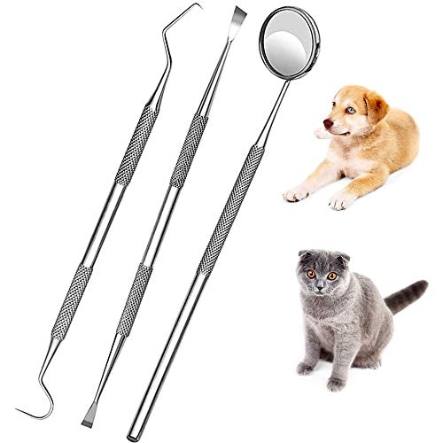 Dog Dental Care Set Pet Teeth Whitening Dentist Tools Kit Stick Oral Care Interdental Teeth Cleaning Floss Calculus Plaque Remover Probe, Mirror Cat Kit Tools Set Kit (3P Dental)