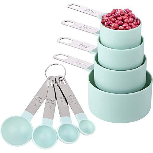 Gaoominy Juego de Tazas y Cucharas Medidoras de 8 Piezas, Tazas Medidoras Anidadas con Manejar de Acero Inoxidable, para Ingredientes Secos y LíQuidos