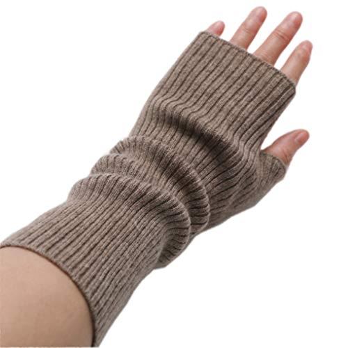 prettystern mid-lange Kaschmir Pulswärmer Arm-Stulpe fingerlose Ripp-Strick Handschuhe Braun