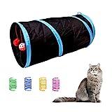 Andiker Túnel de Gato y 4 Juguetes de Resorte para Gatos, Juguetes Plegables Interactivos para Gatos Juguetes para Gatos de Interior Lindo Juguete de Tubo Juguetes de Primavera para Gato (Negro)