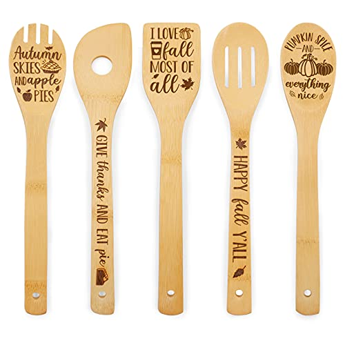 Fall Gift Wooden Spoons Autumn Decor Give Thanks Happy Fall Y'all Decorative Cooking Bamboo Utensils Laser Cut Engraved…