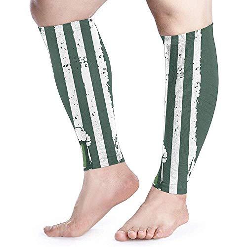 Calf Been Compressie Sleeve voor Vrouwen Klaver Amerikaanse Vlag Bier Shin Splints Brede Buis Mouwen Uv Bescherming Arm
