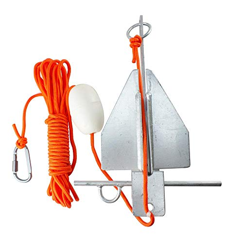 BeGrit 1,5KG Ancora Tipo Danforth Kit de Anclaje de Barco Plegable de Acero al Carbono para Canoa Jet Ski Sup con 32.8 ft ø 6 mm Bolsa de Transporte