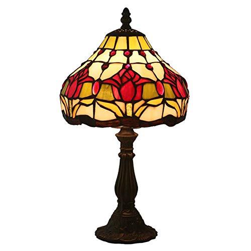 QCKDQ Tafellamp Tiffany, 8 inch, rode tulpen, glazen tafellamp met drukknopschakelaar, retro woonkamer, decoratie nachtlampje