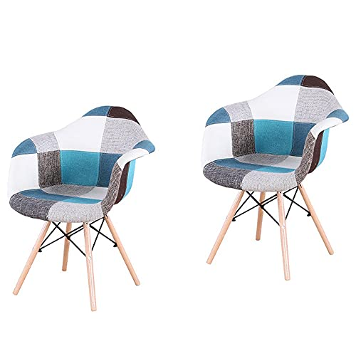 VERDELZ Set of 2/4 ABS PP/Linen/Velvet Fabric Dining Chair with Metal Frame and Natural Beech Wood Chair Legs, with Armrest for Dining Room, Living Room, Kitchen, Linen Patchwork B