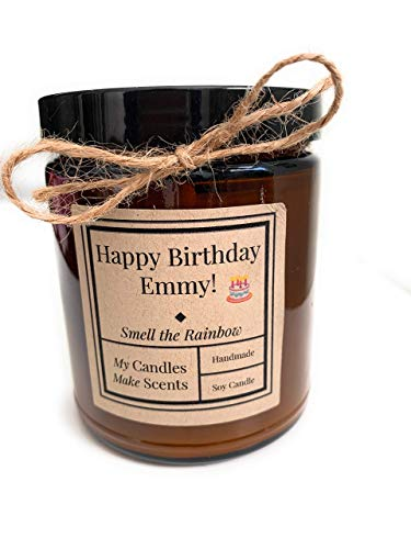 Personalized | Handcrafted Soy Candle | 4oz or 9oz Amber & Clear Jars| Many Scents to Choose From